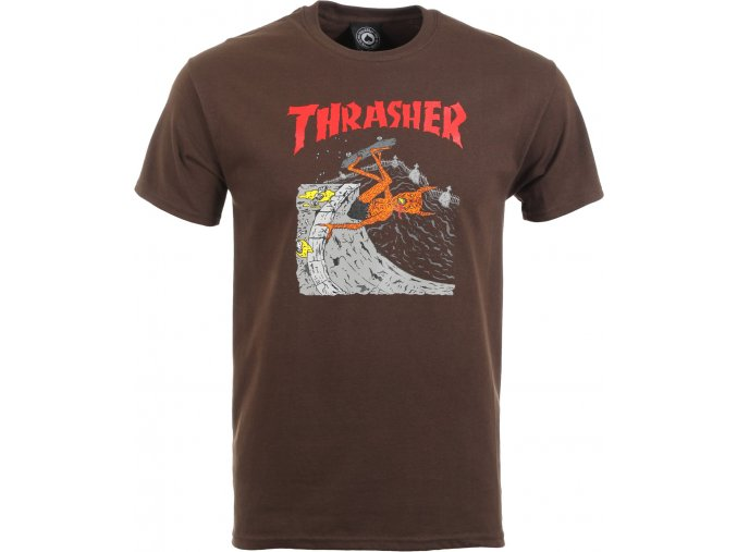 thrasher neckface invert t shirt brown