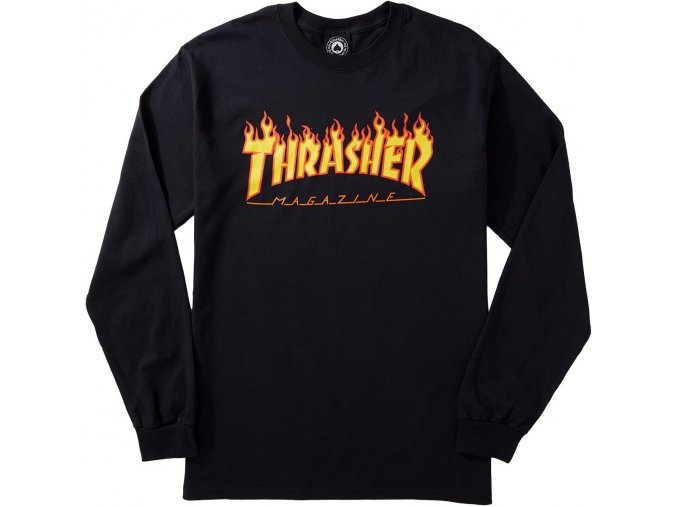 THRASHER FLAME LOGO LONGSLEEVE BLACK