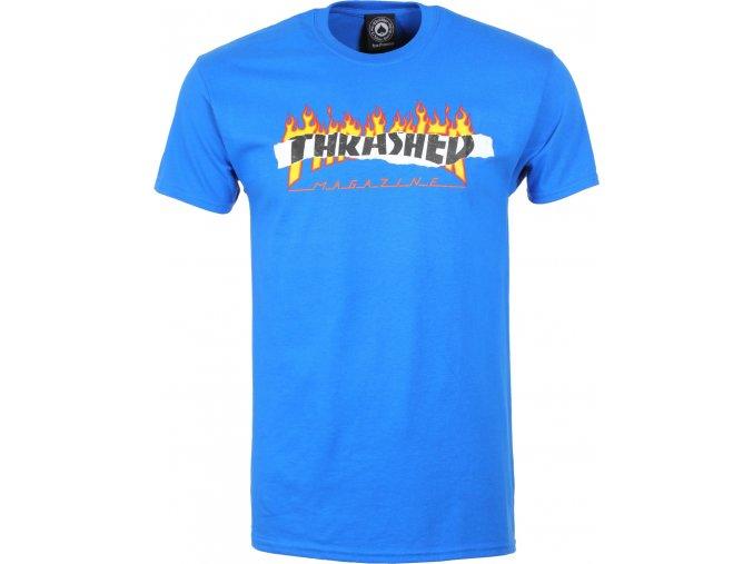 thrasher ripped t shirt royal blue