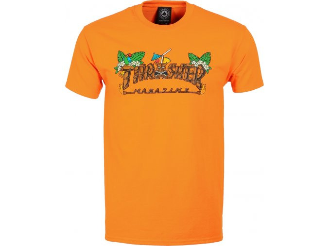 thrasher tiki t shirt safety orange