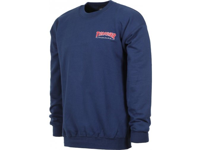 thrasher embroidered outlined crew sweatshirt navy
