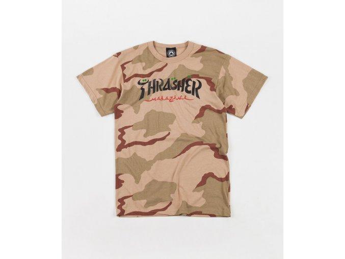 thrasher calligraphy t shirt desert camo 1