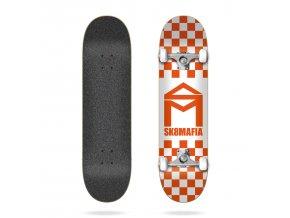 product s k sk8mafia house logo checker orange 8 0 complete skateboard