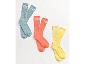 Vans Classic Mellow Yellow, Red & Blue 3 Pack Crew Socks 171137 front CA