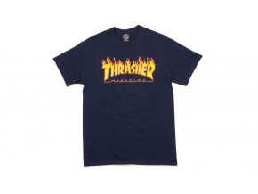thrasher magazine t shirt flame blue navy