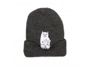 Lord Nermal Ribbed Beanie (Charcoal) Detail