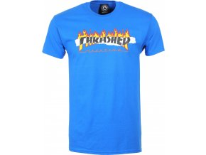thrasher ripped t shirt royal blue