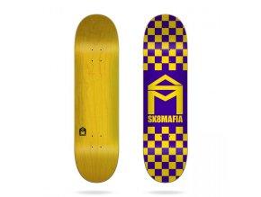 sk8mafia house logo checker purple 8 1 deck