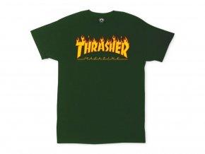 13775 cha thrasher flame logo tee forest green