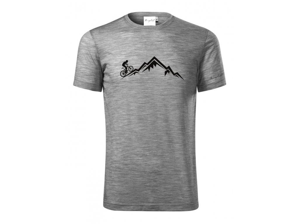 Merino tričko pánské šedá - Hora