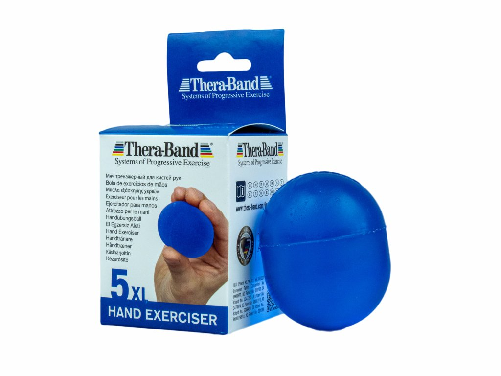 Thera-Band Hand Exerciser XL - posilovač rukou gelové vajíčko, modré - tvrdé
