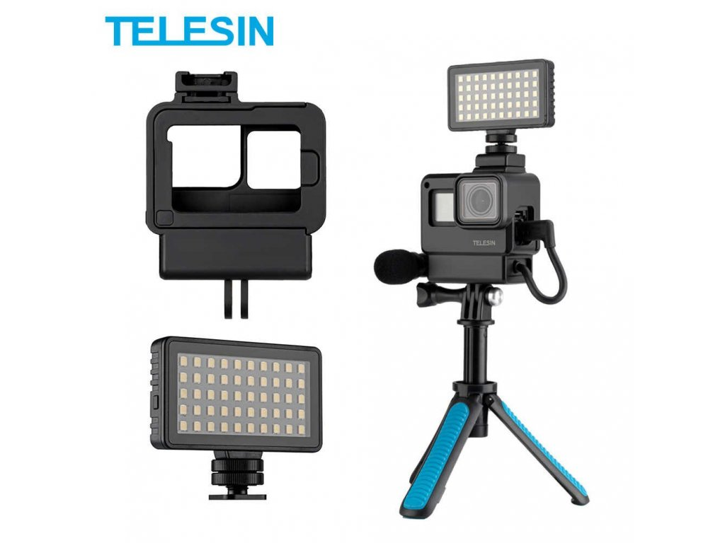 TELESIN Vlog Housing Case for Gopro Hero 7 6 5 Black Plastic Cage Cold Shoe Rotatable.jpg q50