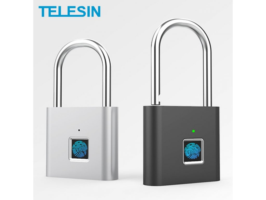 TELESIN Fingerprint Lock Keyless USB Rechargeable Smart Padlock Quick Unlock Zinc Alloy Metal Security For Door
