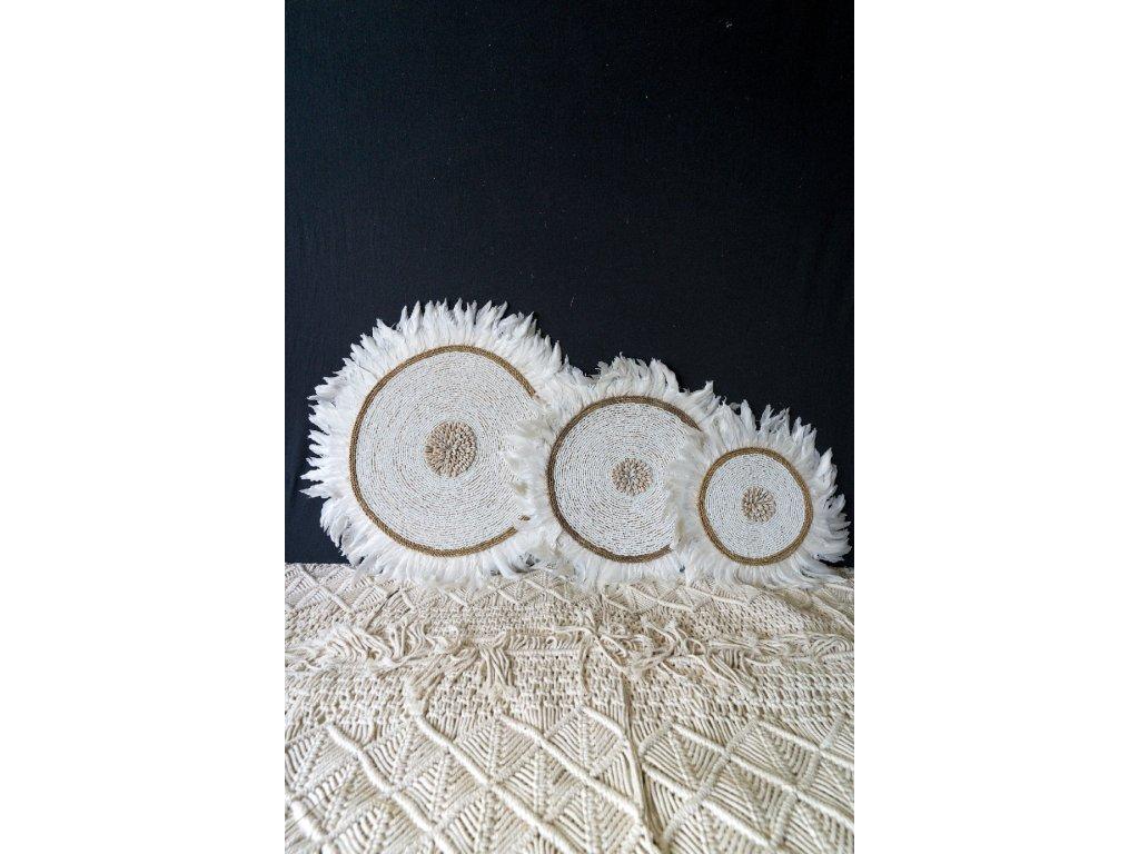 Nástěnná dekorace s bílým peřím - set 3 ks