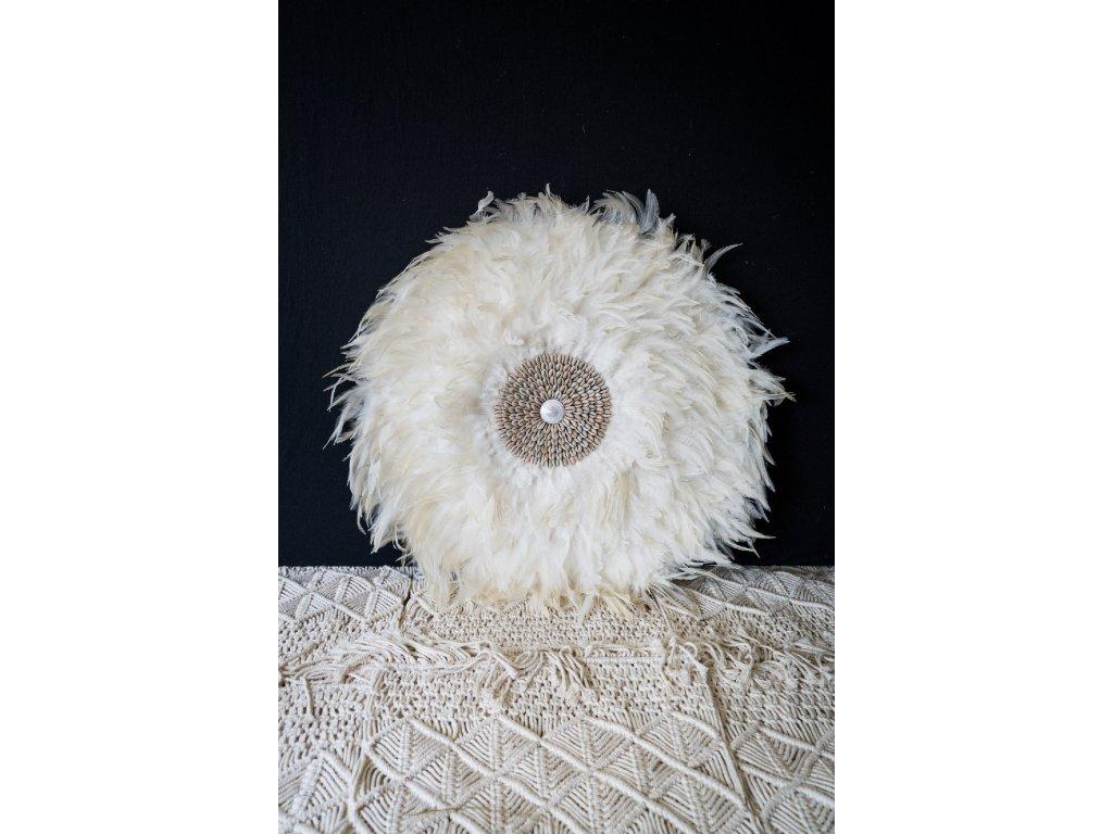 Nástěnná dekorace s bílým peřím - malé mušle