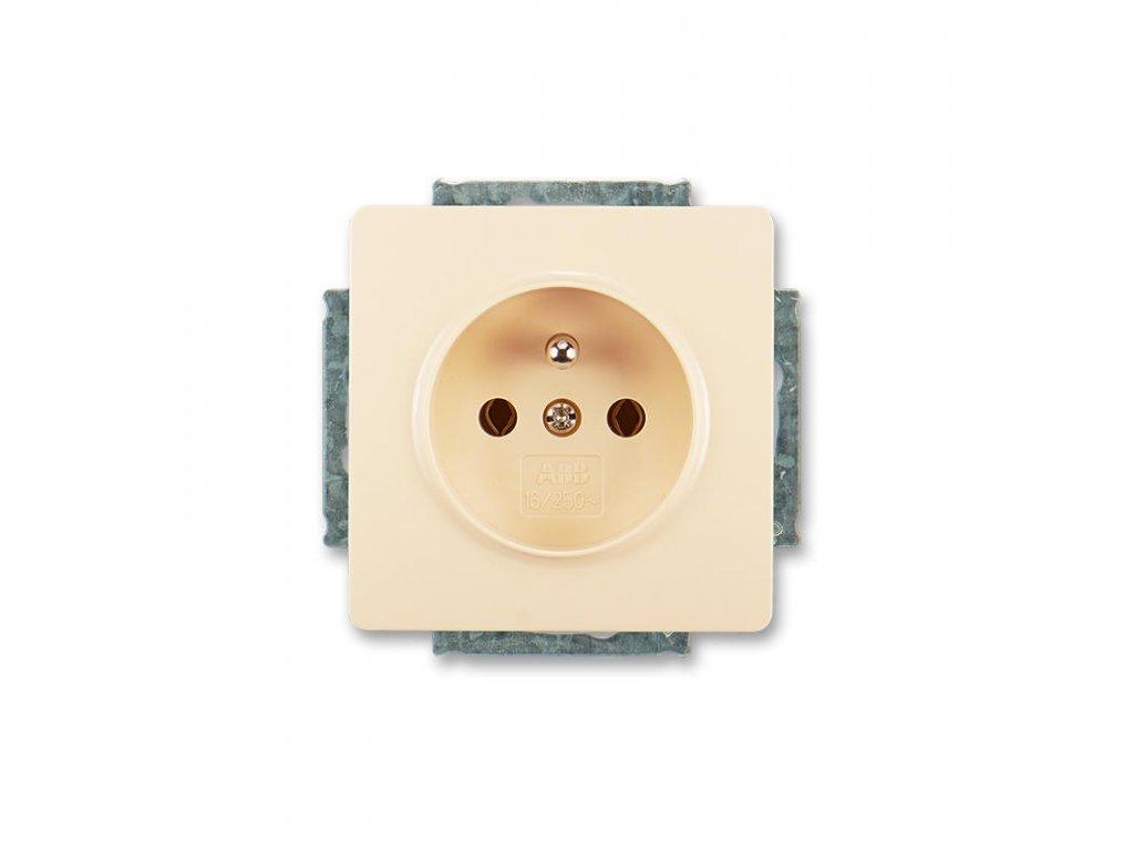 abb 5518g a02349 c1 zasuvka jednonasobna s ochrannym kolikem, kremova large greybox