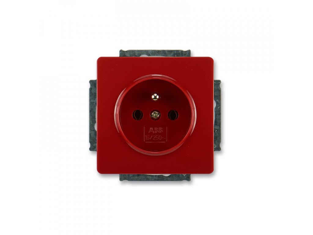 abb 5518g a02349 r1 zasuvka jednonasobna s ochrannym kolikem, karminova ral 3003 large greybox