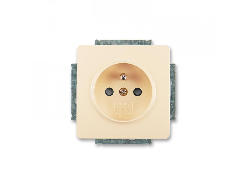 abb 5518g a02359 c1 zasuvka jednonasobna s ochrannym kolikem, s clonkami, kremova large greybox