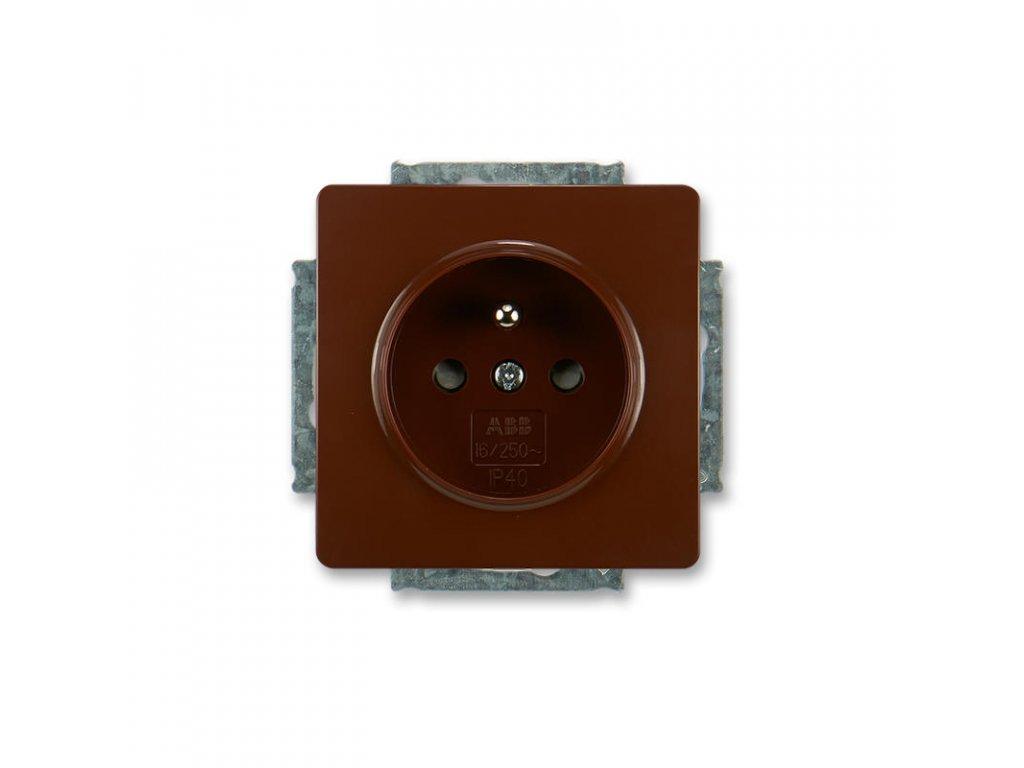 abb 5518g a02359 h1 zasuvka jednonasobna s ochrannym kolikem, s clonkami, hneda large greybox