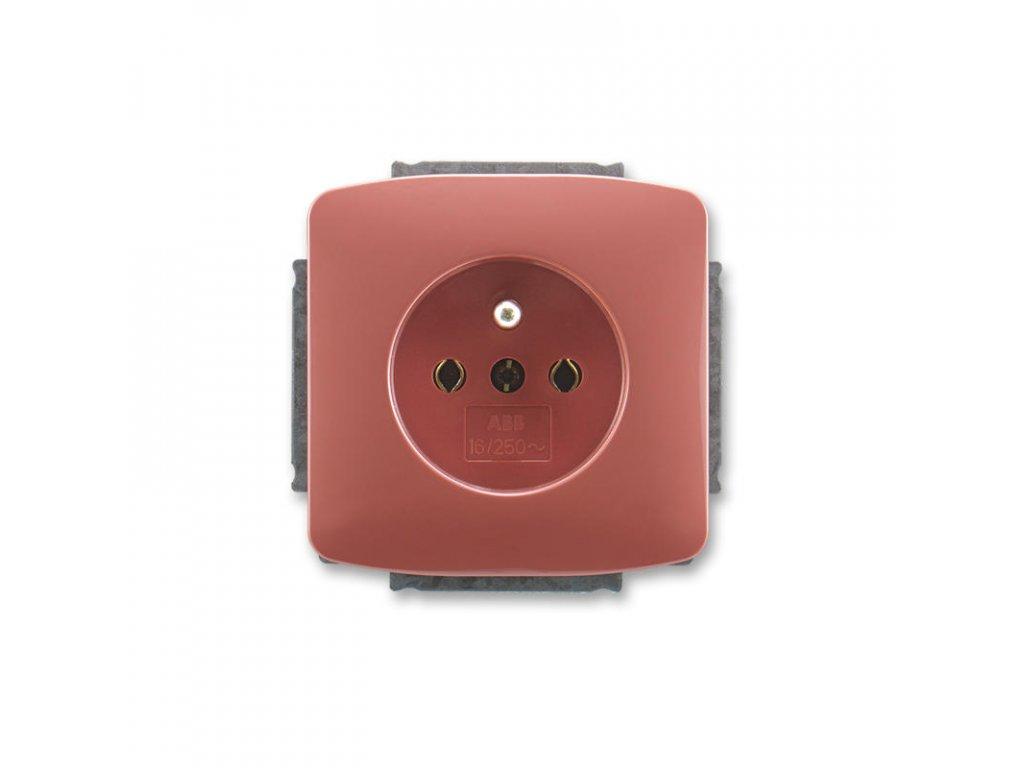 abb 5518a a2349 r2 zasuvka jednonasobna s ochrannym kolikem, vresova cervena large greybox