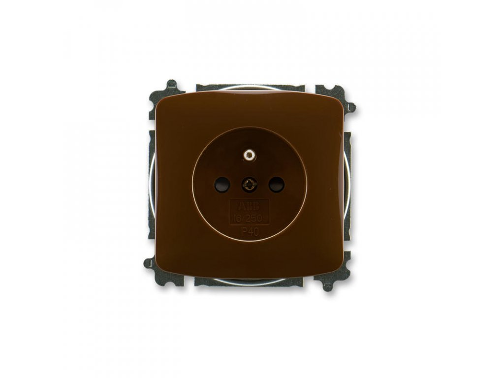 abb 5519a a02357 h zasuvka jednonasobna s ochrannym kolikem, s clonkami, hneda large greybox