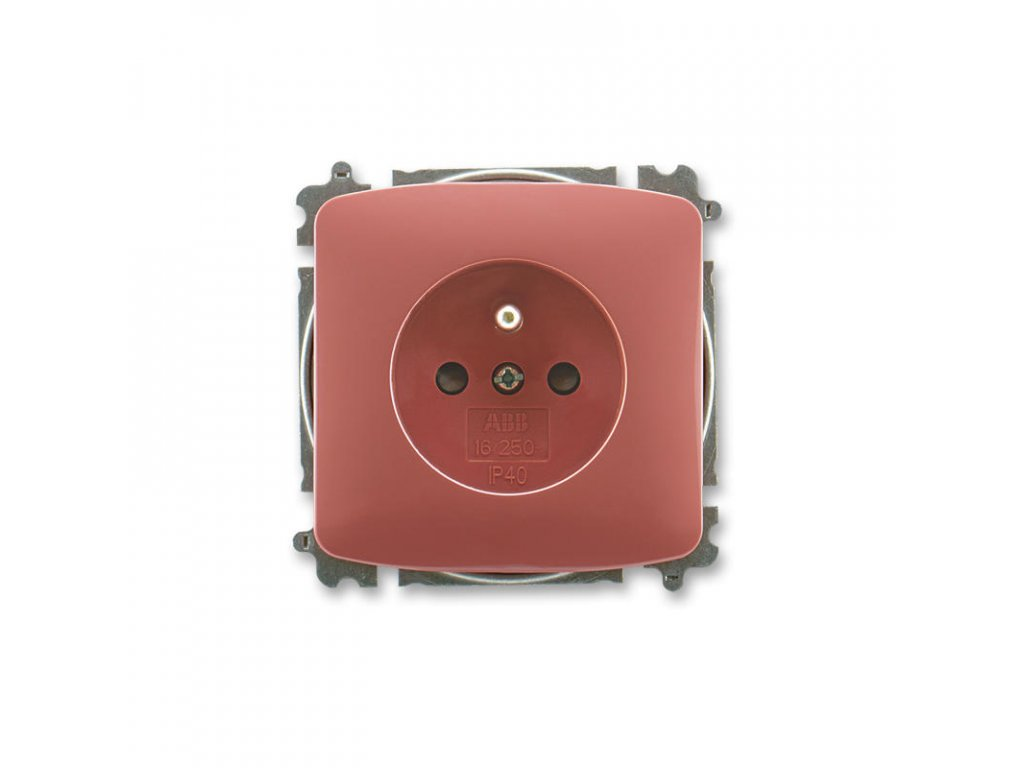 abb 5519a a02357 r2 zasuvka jednonasobna s ochrannym kolikem, s clonkami, vresova cervena large greybox