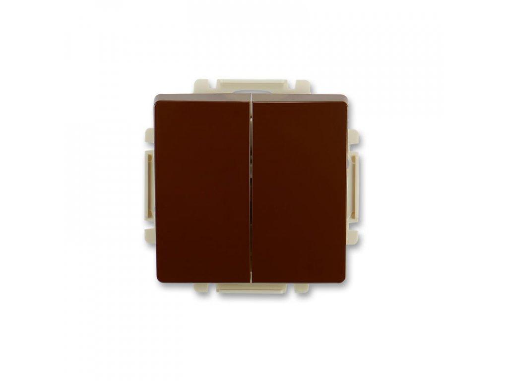 abb 3557g a52340 h1 prepinac stridavy dvojity, razeni 6 6, s krytem, hneda large greybox