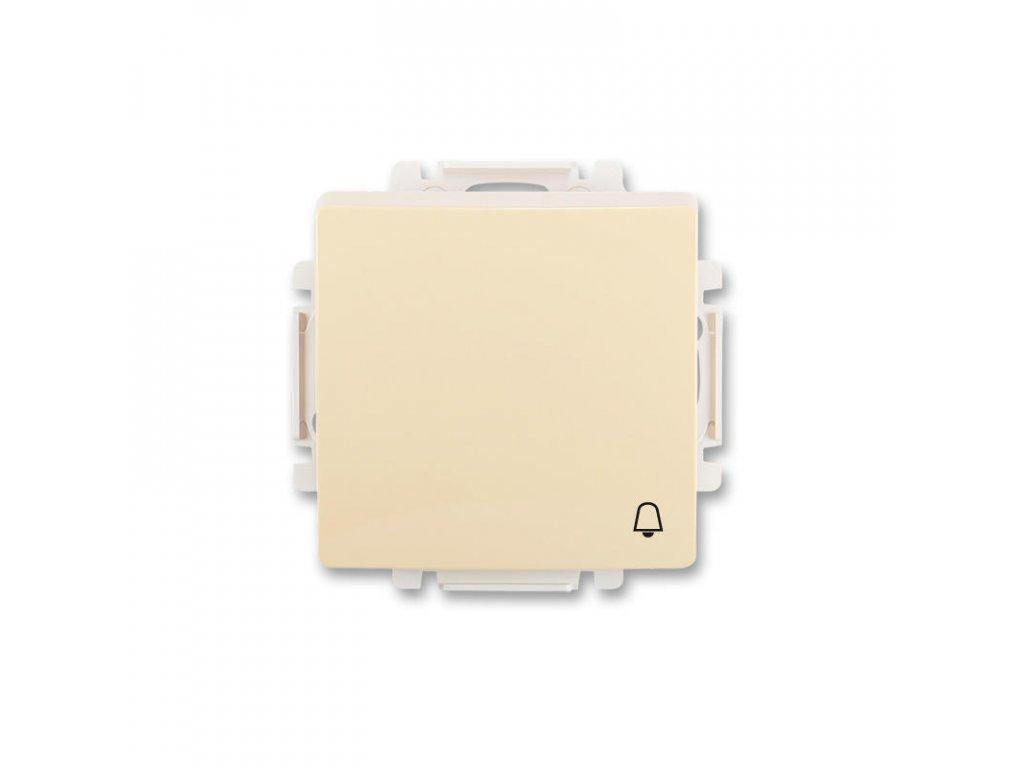 abb 3557g a80343 c1 ovladac tlacitkovy zapinaci, s krytem, se symbolem zvonku, raz. 1 0, kremova large greybox