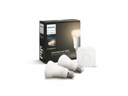 Philips Hue Bluetooth 2x žárovka LED E27 9W 806lm 2700K + bridge 8718696785218,Hue Bluetooth LED White žárovka E27 A19 9W 806lm 2700K set 2 ks, stmívatelné,teplé světlo