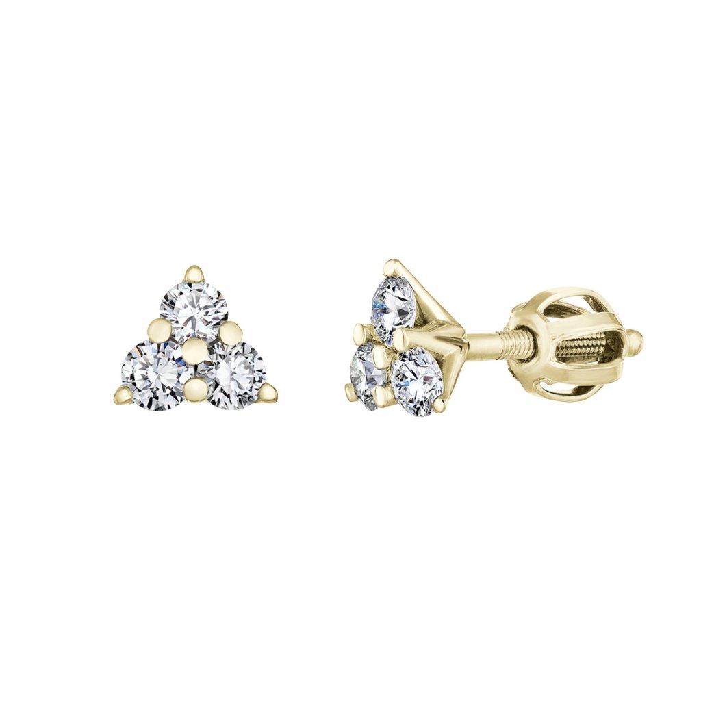 Dámské náušnice z žlutého zlata s lab-grown diamanty Magic Triangle