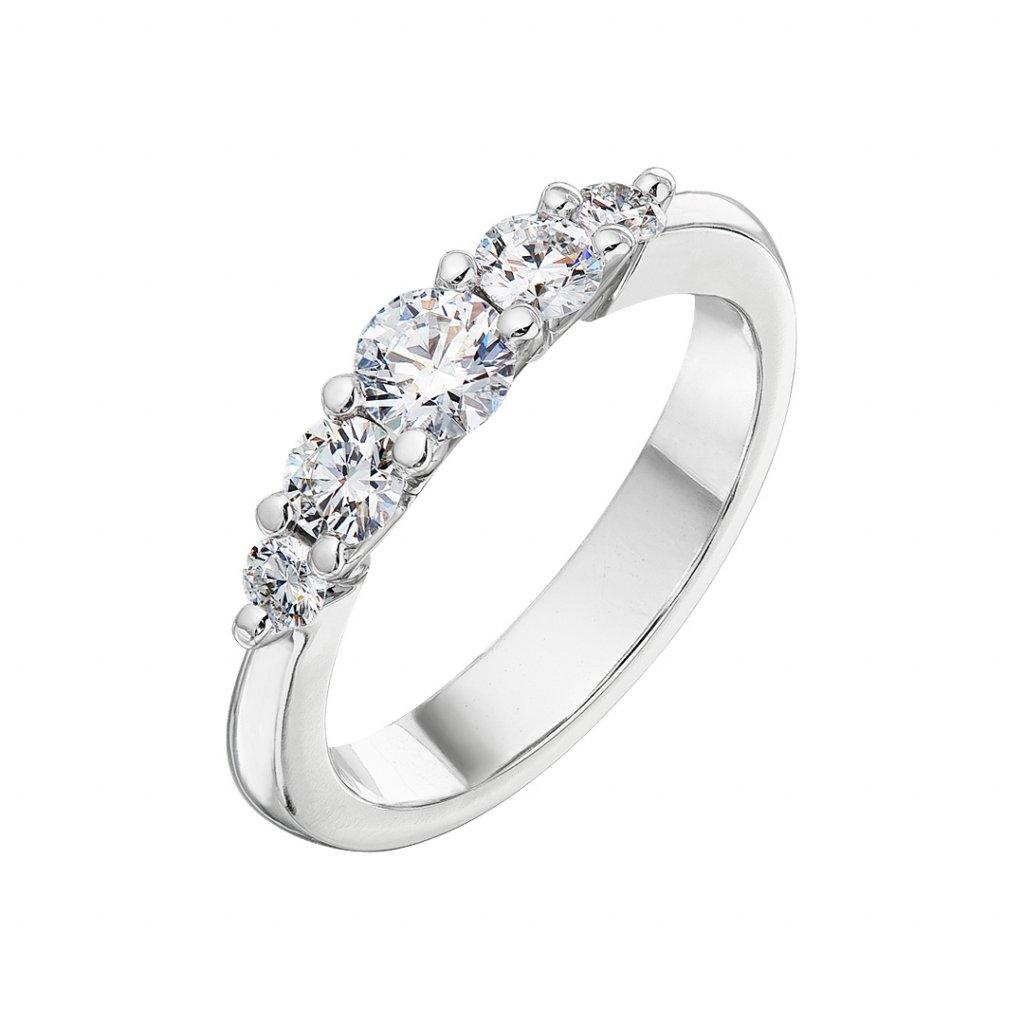 Prsten z bílého zlata s diamanty Pure Line 5