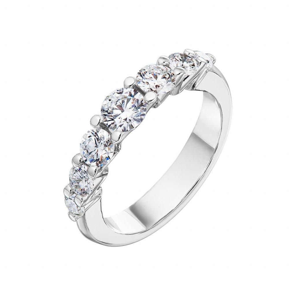 Zásnubní prsten zbílého zlata slab-grown diamanty Pure Line 7