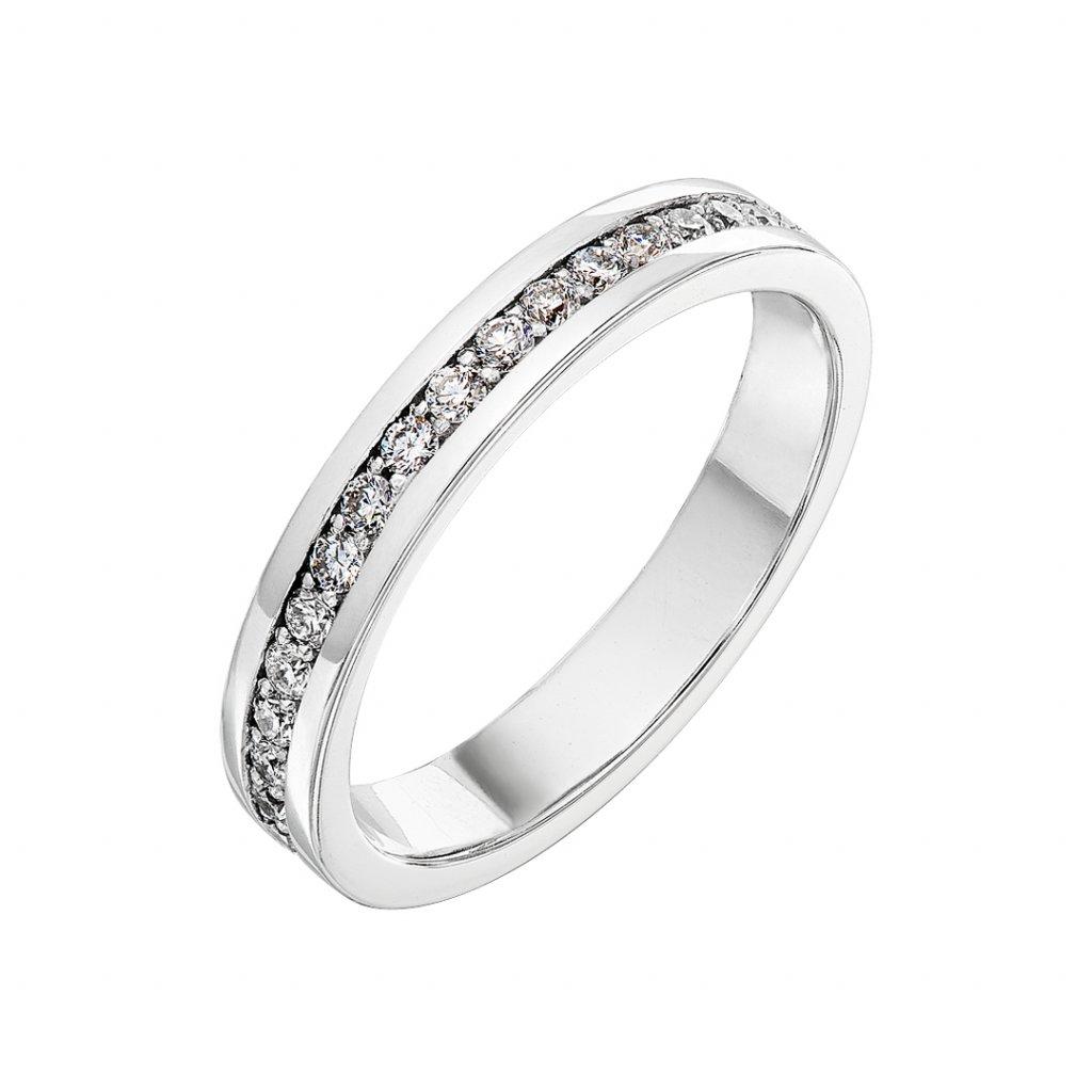 Prsten z bílého zlata s diamanty Patience