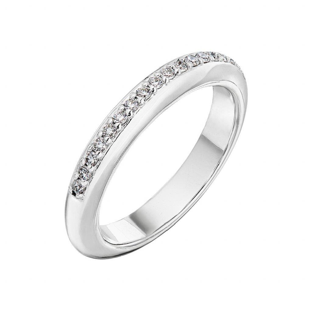 Prsten z bílého zlata s diamanty Maggie