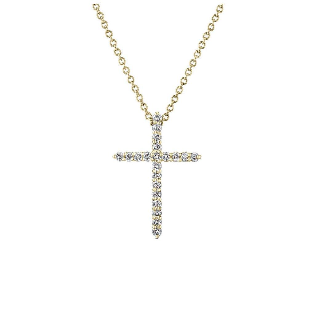Přívěsek ze žlutého zlatas lab-grown diamanty PureCross, small