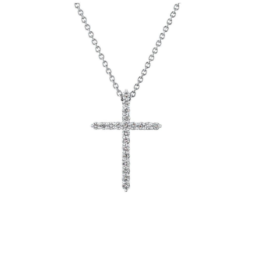 Přívěsek z bílého zlatas lab-grown diamanty PureCross, small