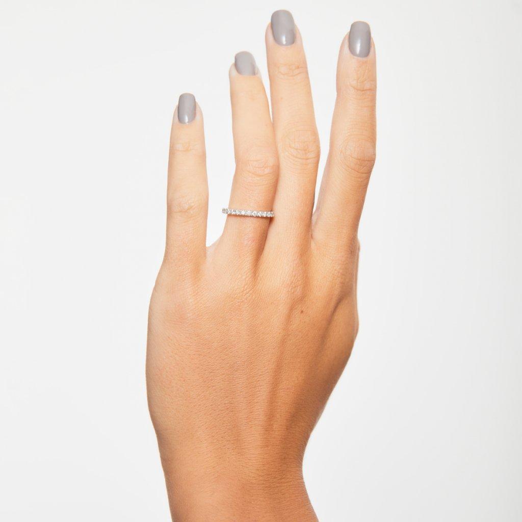 Prsten zbílého zlata slab-grown diamanty Gemmalata slab-grown diamanty Gemma