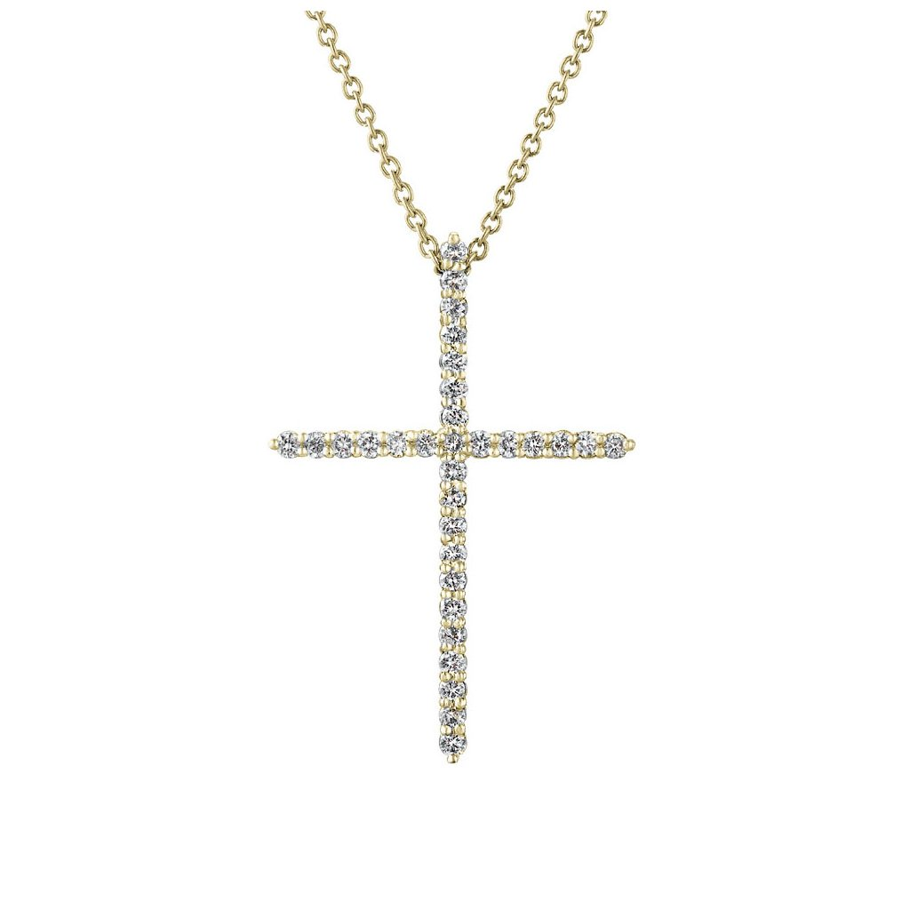 Přívěsek ze žlutého zlatas lab-grown diamanty PureCross , medium