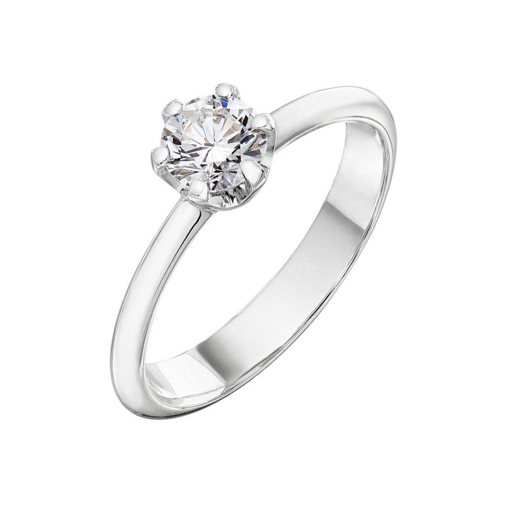 Zásnubní prsten zbílého zlata slab-grown diamanty Harmony