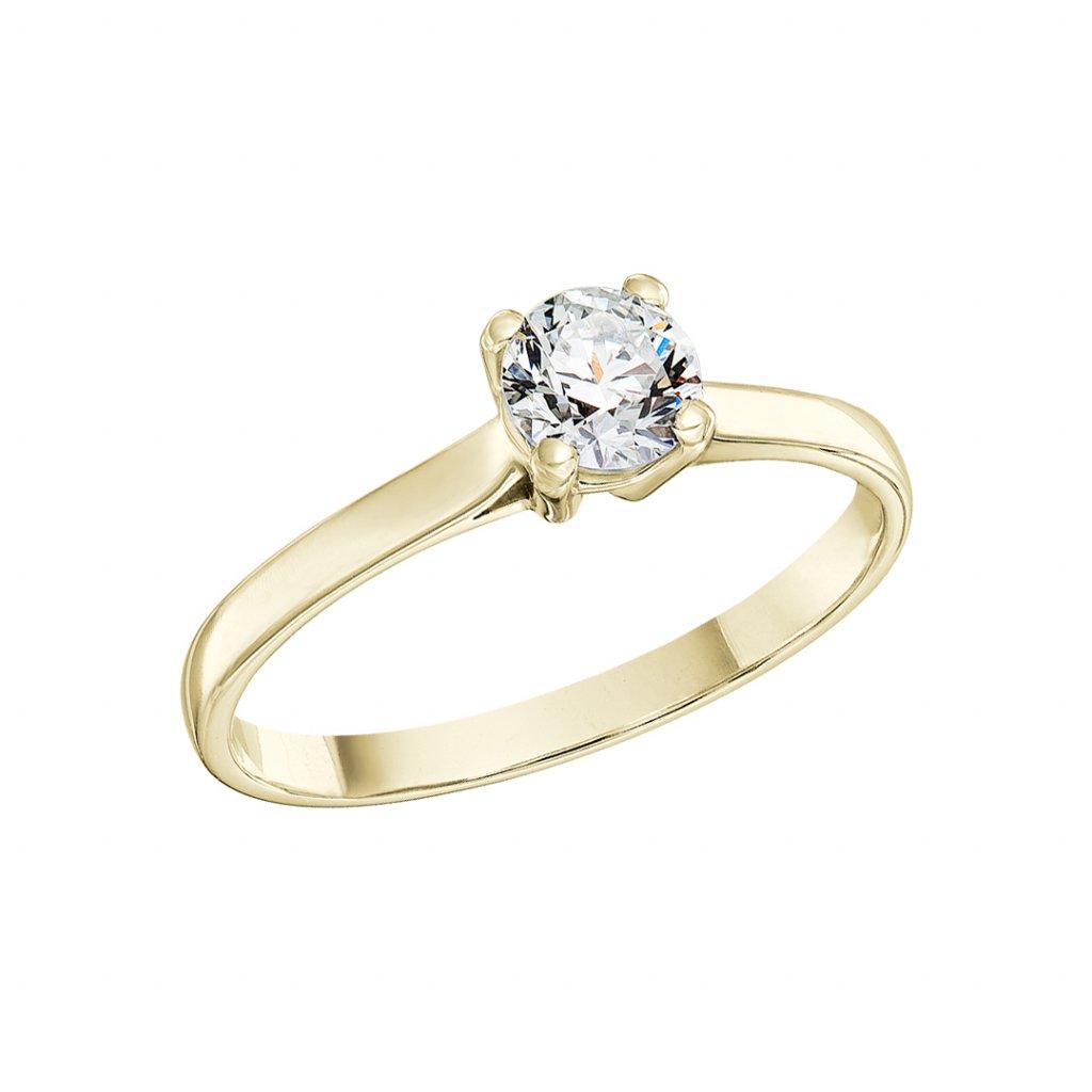 Zásnubní  prsten ze žlutého zlata s lab-grown diamanty Grace