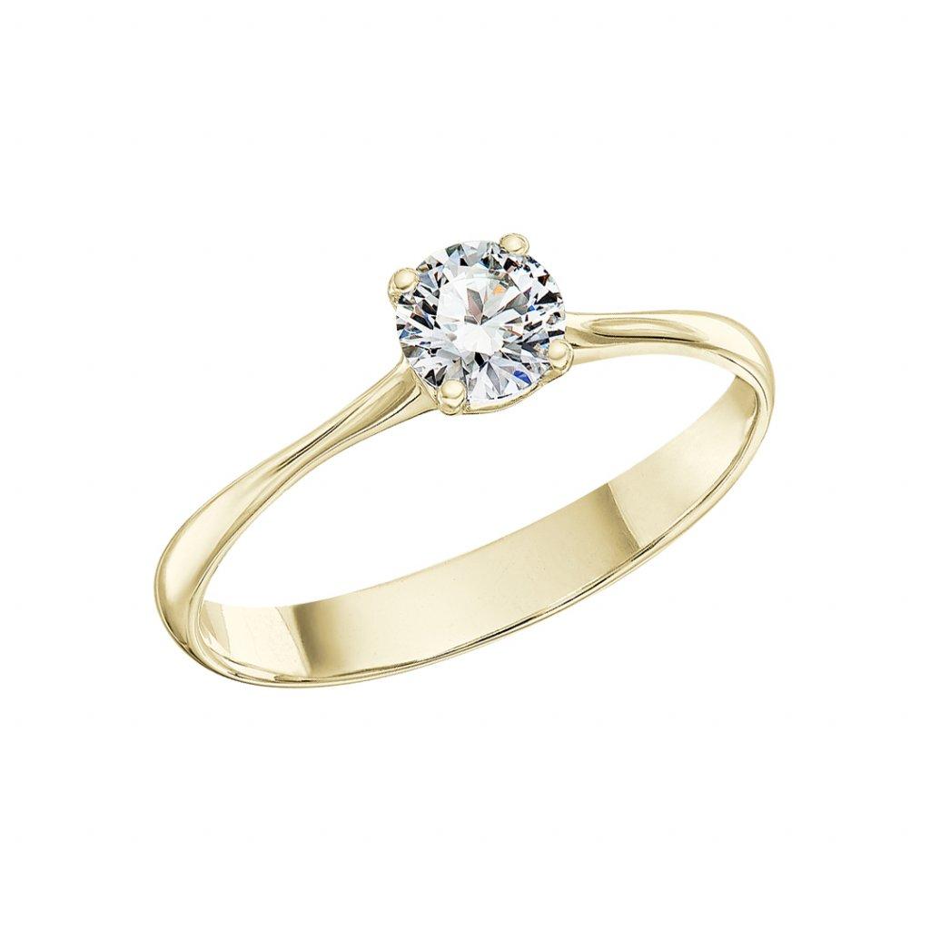 Zásnubní prsten ze žlutého zlata s lab-grown diamanty Atea