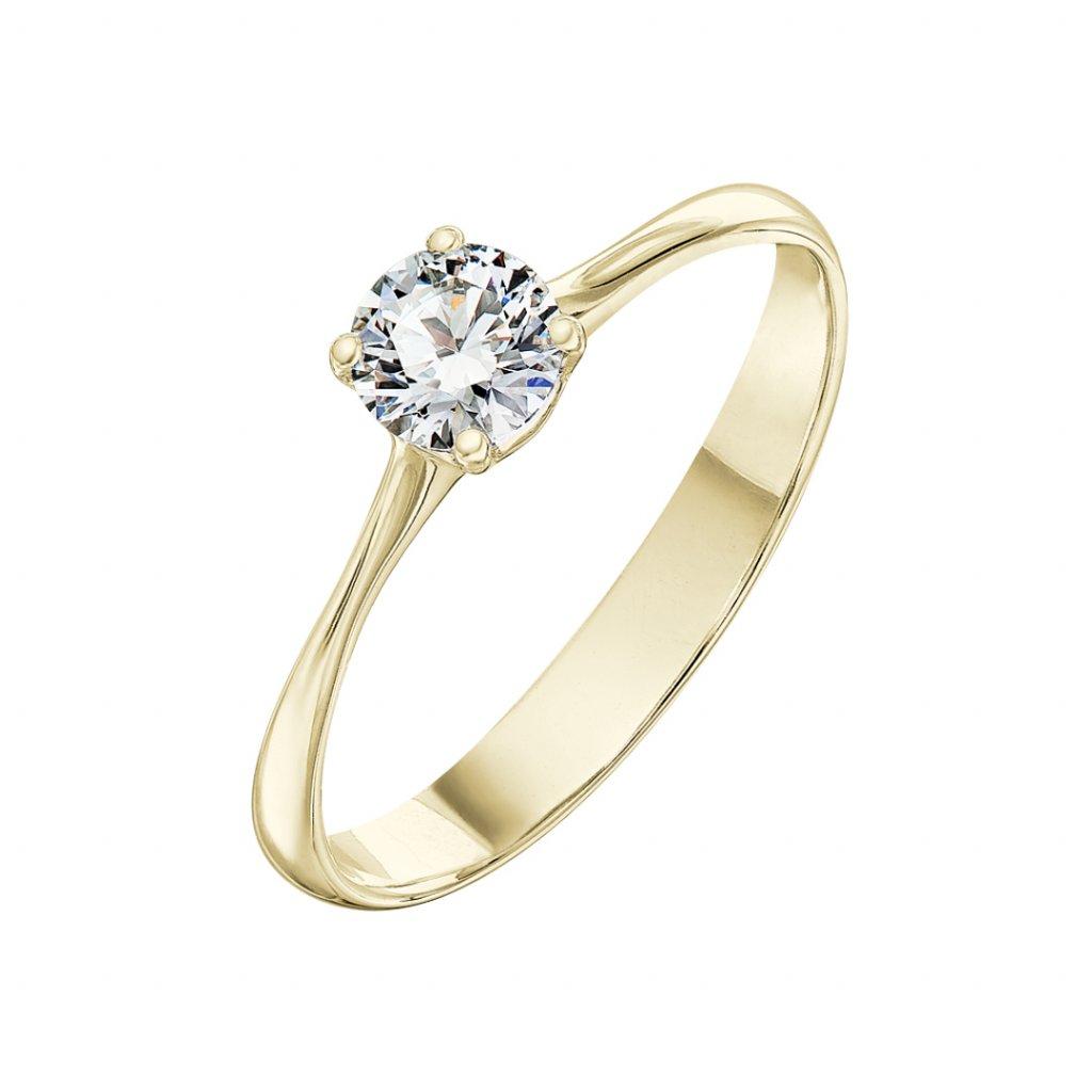 Prsten ze žlutého zlata s diamantem Atea