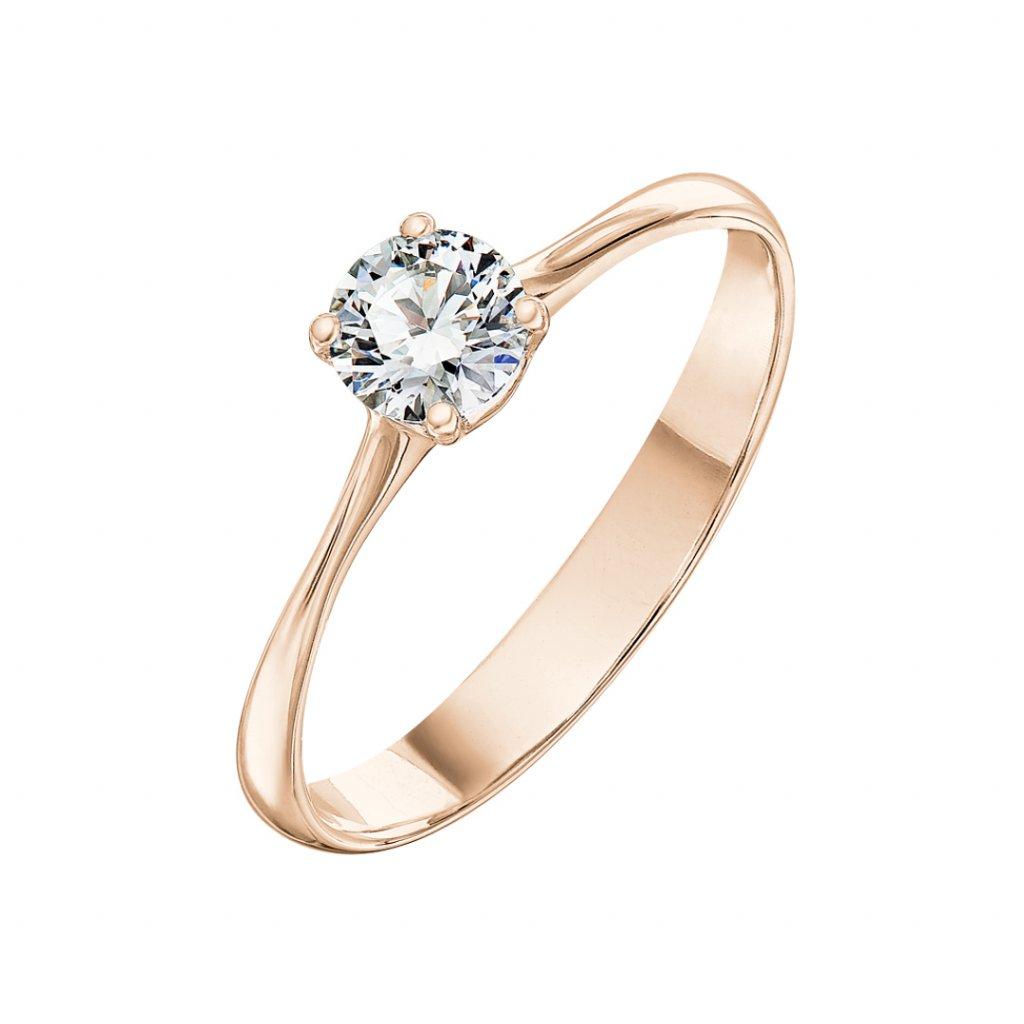 Prsten z růžového zlata s diamantem Atea