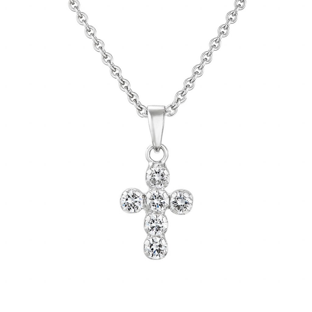 Přívěsek z bílého zlata s lab-grown diamanty Brilliant Little Cross