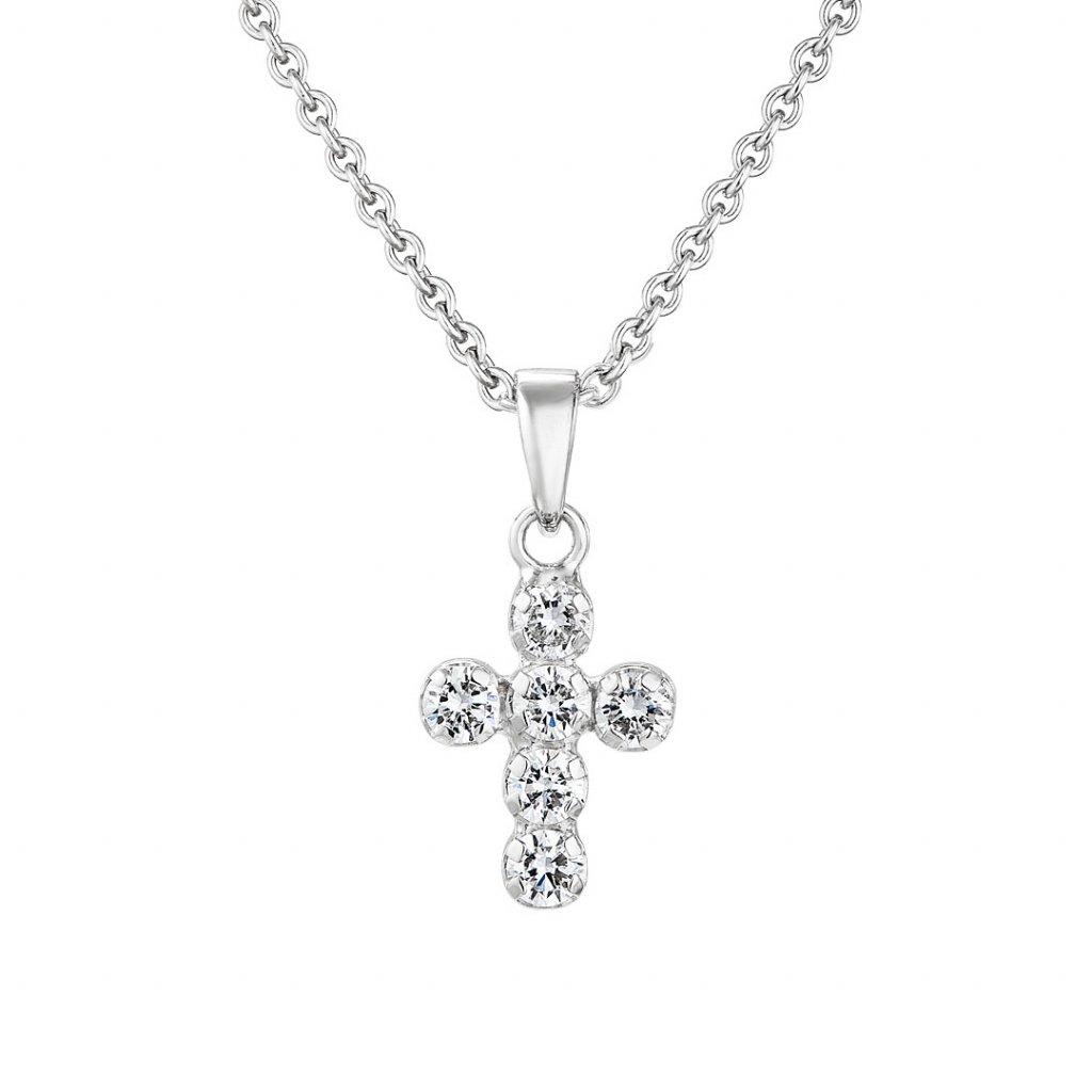 Přívěsek zbílého zlata s lab-grown diamanty Brilliant Little Cross
