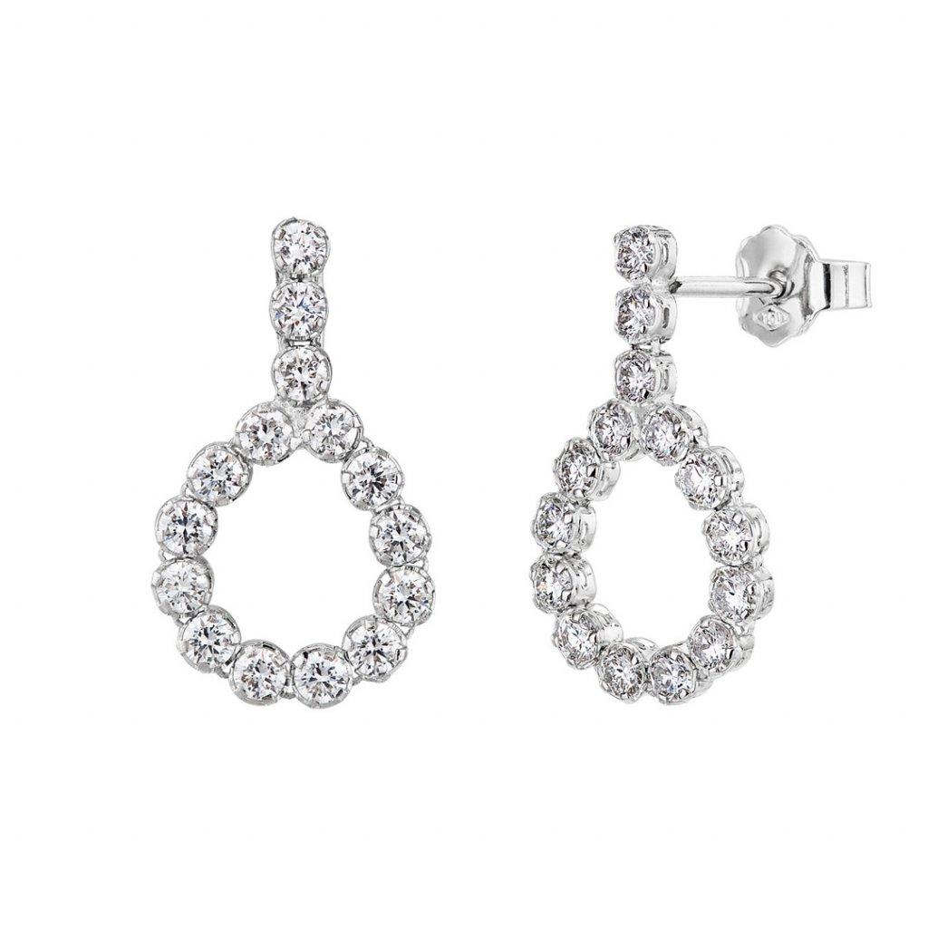 Diamantové visací náušnice Brilliant Drops zbílého zlata s diamanty