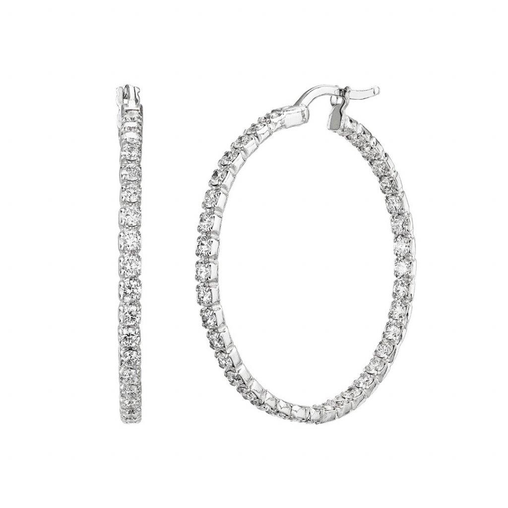 Diamantové kruhové náušnice Brilliant zbílého zlata s lab-grown diamanty - středení