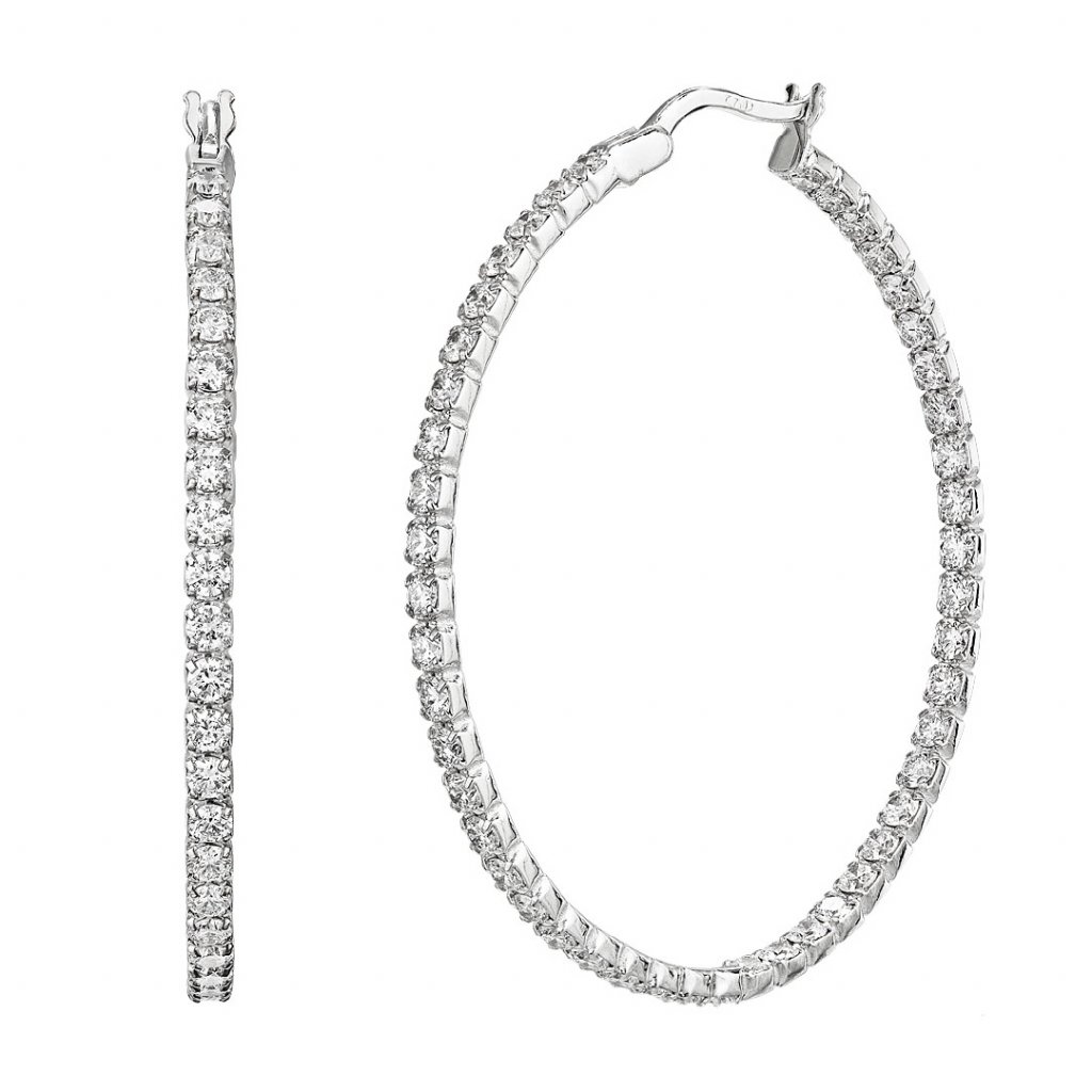 Diamantové kruhové náušnice Brilliant zbílého zlata s lab-grown diamanty - velké