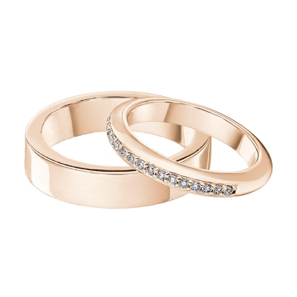 Snubní prstenyzrůžového zlataslab-growndiamantyConcordia