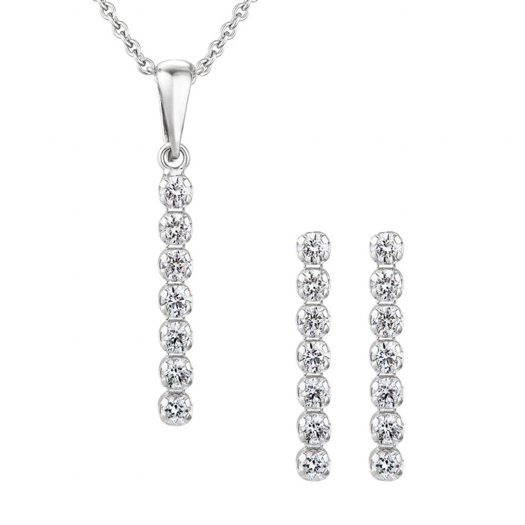 Set Brilliant zbílého zlata s lab-grown diamanty